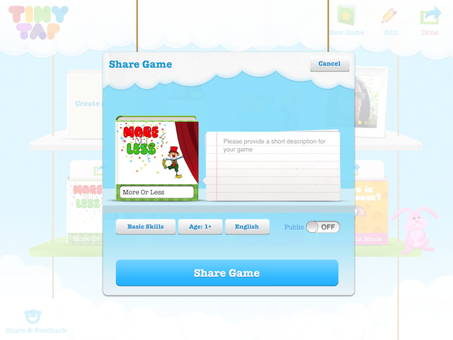 How to set a TinyTap game to private or public when sharing a new game